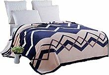 CYALZ Polyester Blau Braun Streifen Muster Einzel oder Doppel Einfach und Modern Heimtextilien Wolle Blanket 230 * 200cm