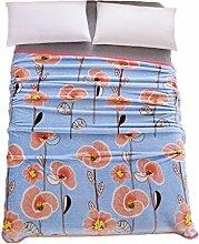 CYALZ Polyester Blau Rosa Blumenmuster Einzel oder Doppel Einfach und Modern Heimtextilien Wolle Blanket 200 * 230cm