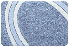 CYALZ Polyester Blau Weiß Streifen Blumenmuster Modern Einfach Stil Haus Textilien Türen Wohnzimmer Badezimmer Küche Balkon Treppen Schlafzimmer Bedside 2,5cm Dicke Anti rutschig Teppich Decke Matte Kissen 90 * 60cm