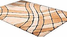 CYALZ Polyester Braun Gelb Blütenmuster Modern Einfach Stripe Style Heimtextilien Türsprechanlage Badezimmer Küche Balkon Treppen Schlafzimmer Bedside 1,5cm Dicke Anti rutschig Teppich Decke Matte Kissen 170 * 120cm