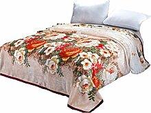 CYALZ Polyester Braun Rosa Blumenmuster Einzel- oder Doppelte Einfache Und Moderne Heimtextilien Wolldecke 200 * 230cm