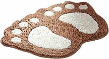 CYALZ Polyester Braun Weiß Fußabdruck Modern Simple Style Home Textilien Türsprechanlage Badezimmer Küche Balkon Treppen Schlafzimmer Bedside 1,5cm Dicke Anti rutschig Teppich Decke Matte Kissen 67 * 48cm