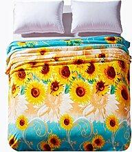 CYALZ Polyester Gelb Blaues Blumenmuster Einzelnes oder doppeltes einfaches und modernes Heimtextilien Wolldecke 200 * 180cm