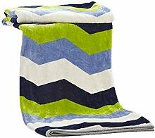CYALZ Polyester grün blaues weißes Streifen-Muster Einzelnes oder doppeltes einfaches und modernes Hauptgewebe-Wolldecke 200 * 230cm