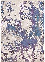 CYALZ Polyester Lila Blau Beige Blumenmuster Retro Modern Einfache Art Heimtextilien Türsprechanlage Badezimmer Küche Balkon Treppen Schlafzimmer Bedside 0.6cm Dicke Anti rutschig Teppich Decke Matte Kissen 122 * 82cm