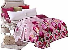 CYALZ Polyester Lila Rosa Blumenmuster Einzel oder Doppel Einfach und Modern Heimtextilien Wolle Blanket 200 * 150cm