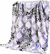 CYALZ Polyester Lila Weiß Streifen Blumenmuster Einzel oder Doppel Einfach und Modern Heimtextilien Wolle Blanket 180 * 220cm