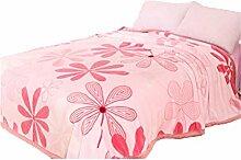 CYALZ Polyester Rosa Blumenmuster Einzelne oder doppelte einfache und moderne Heimtextilien Wolldecke 200 * 230cm