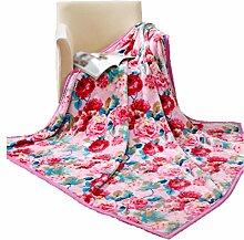 CYALZ Polyester Rosa Blumenmuster Einzelne oder doppelte einfache und moderne Heimtextilien Wolldecke 180 * 200cm