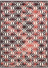 CYALZ Polyester Rot Braun Streifen Blumenmuster Retro Modern Einfache Stil Heimtextilien Türsprechanlage Badezimmer Küche Balkon Treppen Schlafzimmer Bedside 0.6cm Dicke Anti rutschig Teppich Decke Matte Kissen 122 * 82cm