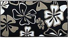 CYALZ Polyester Weiß Schwarz Blumenmuster Modern Simple Style Home Textilien Türsprechanlage Badezimmer Küche Balkon Treppen Schlafzimmer Bedside 0,7cm Dicke Anti rutschig Teppich Decke Matte Kissen 160 * 80cm