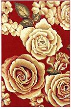 CYALZ Polypropylen Rot Gelb Blütenmuster Modern Einfache Stil Heimtextilien Türsprechanlage Badezimmer Küche Balkon Treppen Schlafzimmer Nachttisch 1.2cm Stärke Anti rutschig Teppich Decke Matte Kissen 150 * 80cm