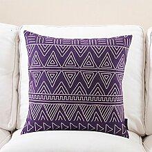 CYALZ Purple Geometric Streifenmuster Couch Kissen Office Nap Hold Kissen Auto Kissen Bedside Sofa Upscale Kissen Schützen Sie die Taille Kissen Back Pad (Dieses Produkt nur verkaufen Kissen) 60 * 60cm