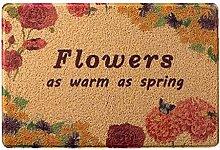 CYALZ PVC Braun Blumenmuster Modern Einfache Art Heimtextilien Türsprechanlage Badezimmer Küche Balkon Treppen Schlafzimmer Bedside 0.5cm Dicke Anti rutschig Teppich Decke Matte Kissen 120 * 80cm