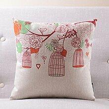 CYALZ Red Flower Muster Couch Kissen Office Nap Hold Kissen Car Kissen Nachttisch Sofa Upscale Kissen Schützen Sie die Taille Kissen Back Pad (Dieses Produkt nur verkaufen Kissen) 55 * 55cm