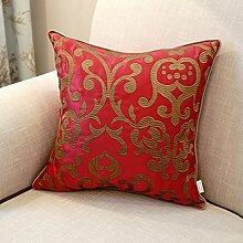 CYALZ Red Flower Muster Couch Kissen Office Nap Hold Kissen Car Kissen Nachttisch Sofa Upscale Kissen Schützen Sie die Taille Kissen Back Pad (Dieses Produkt nur verkaufen Kissen) 30 * 42cm