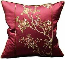CYALZ Red Flower Muster Couch Kissen Office Nap Hold Kissen Car Kissen Nachttisch Sofa Upscale Kissen Schützen Sie die Taille Kissen Back Pad (Dieses Produkt nur verkaufen Kissen) 50 * 50cm
