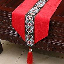 CYALZ Red Flower Pattern Tuch Tischläufer Modern Einfache Mode Upscale Wohnzimmer Küche Restaurant Hotel Heimtextilien (Dieses Produkt verkauft nur Tischläufer) 33 * 150cm