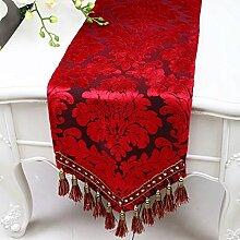 CYALZ Red Flower Pattern Tuch Tischläufer Tischdecke Couchtisch Tuch Lang Tischdecke Modern Einfache Mode Upscale Wohnzimmer Küche Restaurant Hotel Heimtextilien (Dieses Produkt verkauft nur Tischläufer) 33 * 180cm
