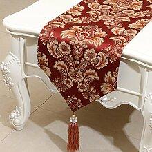 CYALZ Rot Braun Blumenmuster Satin Tischläufer Modern Einfache Mode Upscale Wohnzimmer Küche Restaurant Hotel Heimtextilien (Dieses Produkt verkauft nur Tischläufer) 33 * 200cm