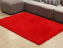 CYALZ Rot Einfarbig Moderne Einfache Stil Heimtextilien Türsprechanlage Badezimmer Küche Balkon Treppen Schlafzimmer Bedside 1,5cm Dicke Anti rutschig Teppich Decke Matte Kissen 200 * 140cm