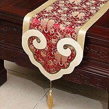 CYALZ Rot Gelb Blumenmuster Satin Tischläufer Modern Einfache Mode Upscale Wohnzimmer Küche Restaurant Hotel Heimtextilien (Dieses Produkt verkauft nur Tischläufer) 35 * 180cm