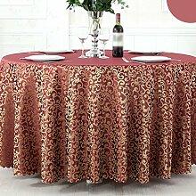 CYALZ Rot Gelb Streifen Blumenmuster Satin Tischdecke Weich Modern Einfach Mode Upscale Wohnzimmer Küche Restaurant Hotel Heimtextilien (Dieses Produkt verkauft nur Tischtücher) Durchmesser 180cm