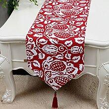 CYALZ Rot Weiß Blume Muster Tuch Tischläufer Modern Einfache Mode Upscale Wohnzimmer Küche Restaurant Hotel Heimtextilien (Dieses Produkt verkauft nur Tischläufer) 33 * 180cm