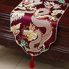 CYALZ Rot Weiß Streifen Blume Muster Tuch Tischläufer Modern Einfache Mode Upscale Wohnzimmer Küche Restaurant Hotel Heimtextilien (Dieses Produkt verkauft nur Tischläufer) 33 * 230cm