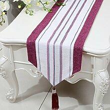 CYALZ Rot Weiß Streifen Tuch Tischläufer Modern Einfache Mode Upscale Wohnzimmer Küche Restaurant Hotel Heimtextilien (Dieses Produkt verkauft nur Tischläufer) 33 * 200cm