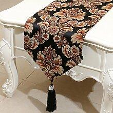 CYALZ Schwarz Braun Blumenmuster Satin Tischläufer Modern Einfache Mode Upscale Wohnzimmer Küche Restaurant Hotel Heimtextilien (Dieses Produkt verkauft nur Tischläufer) 33 * 180cm