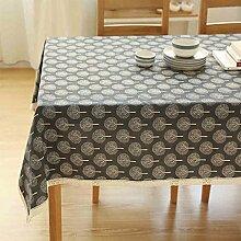 CYALZ Schwarz Leinen Tischdecke Blumenmuster Rechteck Soft Modern Einfache Mode Upscale Tischdecke Gemütliches Restaurant Wohnzimmer Wohnzimmer Balkon Küche Hotel Couchtisch Teetisch Esstisch Tischgeschirr Heimtextilien (Dieses Produkt verkauft nur Tischtücher) 140 * 140cm