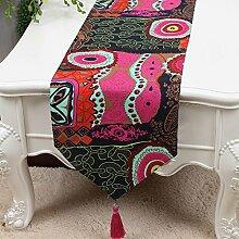 CYALZ Schwarzes Rot Blumenmuster Tuch Tischläufer Modern Einfache Mode Upscale Wohnzimmer Küche Restaurant Hotel Heimtextilien (Dieses Produkt verkauft nur Tischläufer) 33 * 200cm