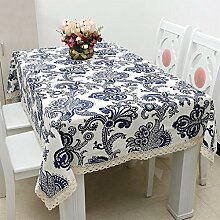 CYALZ Weiß Blau Streifen Blume Muster Stoff Tischdecke Weich Modern Einfach Mode Upscale Wohnzimmer Küche Restaurant Hotel Heimtextilien (Dieses Produkt verkauft nur Tischtücher) 140 * 220cm