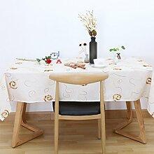 CYALZ Weiß Braun Blume Muster Tuch Tischdecke Rechteck Soft Modern Einfache Mode Upscale Tischdecke Gemütliches Restaurant Wohnzimmer Wohnzimmer Balkon Küche Hotel Couchtisch Teetisch Esstisch Tischgeschirr Heimtextilien (Dieses Produkt verkauft nur Tischtücher) 135 * 135cm