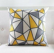 CYALZ Weiß Gelb Grau Geometrisch Streifenmuster Couch Kissen Büro Nap Hold Kissen Auto Kissen Bedside Sofa Upscale Kissen Schützen Sie die Taille Kissen Back Pad (Dieses Produkt nur verkaufen Kissen) 60 * 60cm