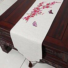 CYALZ Weiß Rot Blumenmuster Tuch Tischläufer Tischdecke Couchtisch Tuch Lang Tischdecke Modern Einfache Mode Upscale Wohnzimmer Küche Restaurant Hotel Heimtextilien (Dieses Produkt verkauft nur Tischläufer) 33 * 230cm