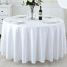 CYALZ Weißer Streifen Blumenmuster Tuch Tischdecke Weich Modern Einfach Mode Upscale Wohnzimmer Küche Restaurant Hotel Heimtextilien (Dieses Produkt verkauft nur Tischtücher) Durchmesser 240cm