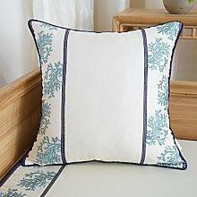 CYALZ Weißes Blaues Blumenmuster Couch Kissen Büro Nap Hold Kissen Auto Kissen Nachttisch Sofa Upscale Kissen Schützen Sie die Taille Kissen Back Pad (Dieses Produkt nur verkaufen Kissen) 45 * 45cm