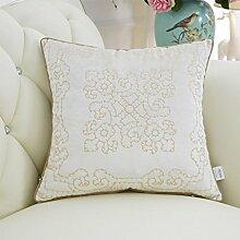 CYALZ Weißes Blumenmuster Couch Kissen Büro Nap Hold Kissen Auto Kissen Nachttisch Sofa Upscale Kissen Schützen Sie die Taille Kissen Back Pad (Dieses Produkt nur verkaufen Kissen) 50 * 50cm