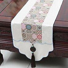 CYALZ Weißes Blumenmuster Satin Tischläufer Tischdecke Couchtisch Tuch Langes Tischtuch Modern Einfache Mode Upscale Wohnzimmer Küche Restaurant Hotel Heimtextilien (Dieses Produkt verkauft nur Tischläufer) 33 * 230cm