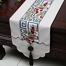 CYALZ Weißes Blumenmuster Tuch Tischläufer Modern Einfache Mode Upscale Wohnzimmer Küche Restaurant Hotel Heimtextilien (Dieses Produkt verkauft nur Tischläufer) 33 * 180cm