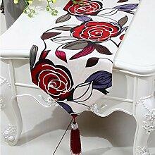 CYALZ Weißes Rotes Blumenmuster Tuch Tischläufer Tischdecke Couchtisch Tuch Langes Tischtuch Modern Einfache Mode Upscale Wohnzimmer Küche Restaurant Hotel Heimtextilien (Dieses Produkt verkauft nur Tischläufer) 33 * 150cm