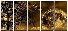 """CyioArt - 5 Panels Big Moon und alter Baum Ballon Leinwand abstraktes Bild Eco Light Artwork für Hauptdekoration Druck auf Leinwand Wandkunst für Schlafzimmer Home Dekorationen (49 """"W x 24"""" H, kein Rahmen)"""