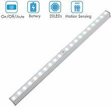 Cynthia Automatische Schrankbeleuchtung 20 LEDs Led Nachtlichter mit Bewegungsmelder für Kleiderschrank, Treppenhaus und Innenhaus weiß