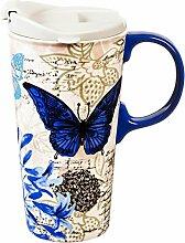 Cypress Home Blue Floral Study Ceramic Travel