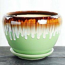 CYQ Blumentopf Keramikgürtel Tablett Grüne