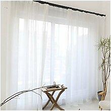 CYSTYLE 1er Gardinen Vorhänge transparent Leinen