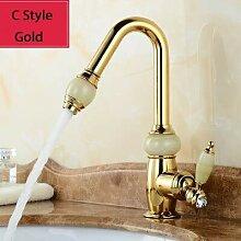 CZOOR 4 Stile Küchenarmatur Gold Messing mit Jade