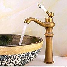 CZOOR Keramik Griff antike Küche Spüle Mischbatterie mit massivem Messing Gold Basin Hahn und Heiß Kalt antike Badezimmer Armatur